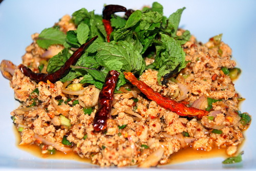 Spicy chicken salad recipe thai food recipe thai food thai lahb gai is a popular thai salad dish that originated from the eastern part of thailand or e sarn province e sarn food is typically spicy and full of forumfinder Gallery